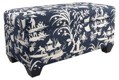 "Hayworth 38"" Storage Bench, Navy/Ivory"