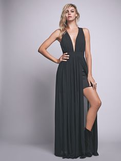 Athea Drape Maxi | Make an entrance in this ethereally draped, Grecian-inspired chiffon maxi dress with pleating detail and exposed half-slip. Straps cross and tie in the back. Back zip with hook-and-eye closure. Fully lined.