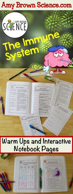 Amy Brown Science:  Using these warm ups and interactive notebook pages while teaching the immune system will provide valuable review and reinforcement for your students.