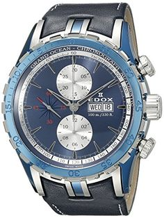 Men's Wrist Watches - Edox Mens 01121 357B BUIN Grand Ocean Analog Display Swiss Automatic Blue Watch ** Details can be found by clicking on the image. (This is an Amazon affiliate link)