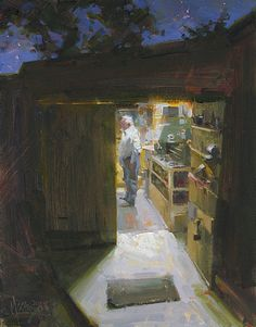 Fred in the Shed by Jennifer McChristian Oil ~ 14 x 11