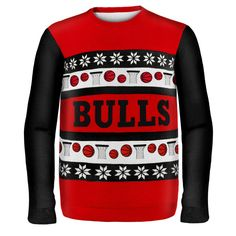 Chicago Bulls NBA Ugly Sweater Wordmark available at uglyteams.com. Check out uglyteams.com for other merchandise and accessories! #Chicago #Bulls