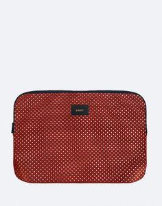 funda-portatil-marrón-polkadots Back To School, Bluetooth, Laptop Sleeves, Entering School, Back To College