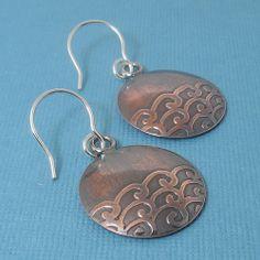 Embossed Metal Waves- amazing handmade copper jewelry / Tidal Earrings #Asian #Cuttlebug #EmbossedMetal