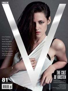 Kristen Stewart was captured by Inez & Vinoodh wearing a white Victoria Beckham vest on the cover of V Magazine's Spring 2013 issue – with her black V Magazine, Fashion Magazine Cover, Fashion Cover, Look Fashion, Magazine Design, Magazine Stand, Fashion Spring, Fashion Art, Fashion Models