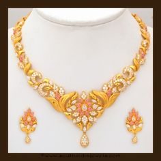 Gold Stone Necklace Set by VBJ Ruby Necklace fb9bfb9141