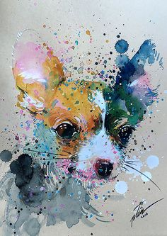 """Back to my watercolour painting, it's been awhile :) """"Chihuahua original painting by Tilen Ti Watercolor Paintings Of Animals, Watercolor Art Lessons, Art Watercolor, Animal Paintings, Chihuahua Art, Art Mignon, Art Et Illustration, Texture Painting, Cute Art"""