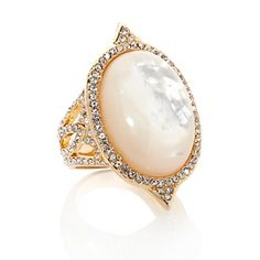 """TELIO by Doris Panos """"Telio Oyster"""" Mother-of-Pearl and Crystal Goldtone Ring at HSN.com."""