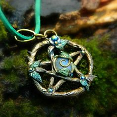 Woodland Witch Pentacle necklace pendant, Handsculpted polymer clay pentacle, Pagan Wicca Witchcraft jewelry, Made in the USA, handmade