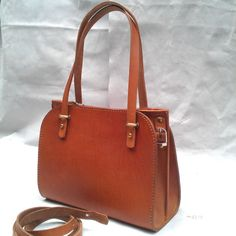 leather hangbag handstitched Leather Zippered Tote Bag