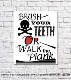 Boys Bathroom Decor Brush Your Teeth Print Pirate Bathroom Wall Art Nautical Bathroom Rules Kids Bathroom Prints Pirate Theme Walk The Plank