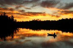 Sunset Paddle, Boundary Waters Canoe Area Wilderness, Minnesota