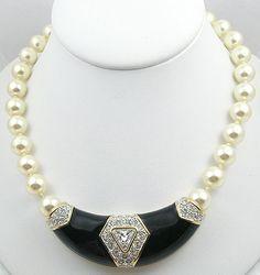 Vintage Swarovski Pearl Black Enamel Necklace - Garden Party Collection Vintage Jewelry