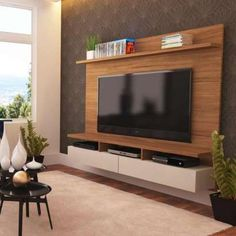 Painel para TV 50 Zeus Natural e Off-White Modern Tv Room, Modern Tv Wall Units, Tv Unit Decor, Tv Wall Decor, Tv Cabinet Design, Tv Wall Design, Home Theather, Small Tv Unit, Tv Unit Furniture