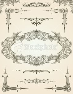 Scroll Design Element Set for pages Royalty Free Stock Vector Art Illustration