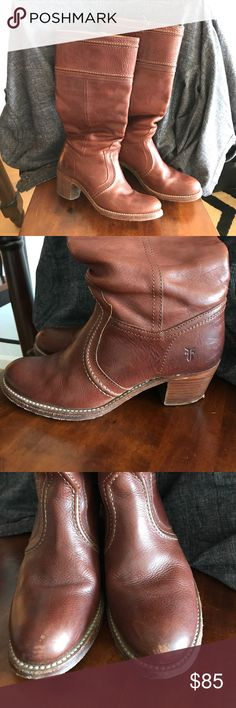 Frye Tall Knee High Pull Up Boot Redwood Jane Stitch Frye Boots. They are in awesome condition. Pic 3 shows the little love scuffs on the tip of the boot. They leather is in great shape and the boots are so comfortable. Frye are Forever, take them home!!! Frye Shoes Heeled Boots