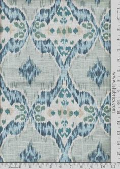 Blue, Green, Grey and Ivory Ikat Curtain Panels / Custom Drapery in Designer Fabric