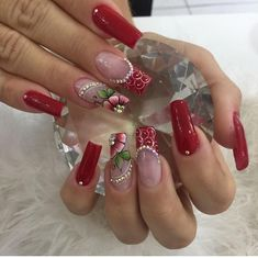 Nail Art, Hot Nails, Cute Acrylic Nails, Flower Nails, Manicure And Pedicure, Nail Colors, Nail Designs, Lily, Valentines