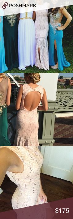 """Light Pink Backless Sequence Prom Dress with slit I have only worn this dress once &it was for only a couple of hours. It is like new and a size 2. This can most definitely fit a 4 too. I am either a 2 or 4 but it just depends of the dress because they are all a little different. I am 5""""7 so if you're shorter then you could easily get it tailored. It has a built in bra so no sticky boobs or bra is needed for this. (I am also size 34B) This dress is SO comfy and even a little stretchy (but…"""