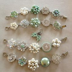 Mint Pearl & Rhinestone Bracelets jewelry by ChicMaddiesBoutique