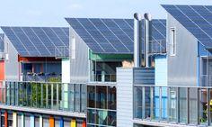 The solar sunship is in the solar village Vauban in Freiburg, Black Forest, Germany.