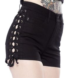High Waist Pure Color Side Lace Up Women's Shorts