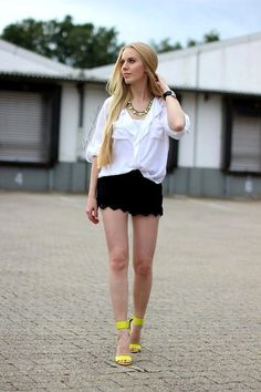 Chicwish Blouse, Romwe Lace Shorts, H Neon Heels, H Neon Necklace