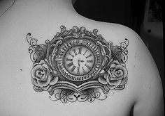 Clock Tattoo with either hunters time of birth or the time of our wedding.