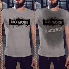 No More Excuses - Men's Sweat Activated T-Shirt Funny Running Shirts, Funny Shirts For Men, Gym Shirts, Workout Shirts, Sweat Workout, Workout Humor, Cool Outfits, Funny Outfits, Gym Men