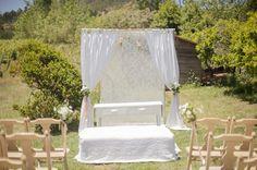 romantic lace ceremony backdrop | Piteira Photography