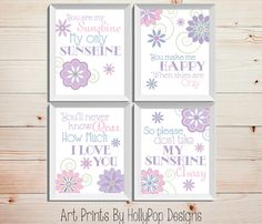 You are My Sunshine My Only Sunshine Set of 4 prints designed in soft pinks, purples, and blues. Colors shown are always completely customizable. Just leave your color selection in the notes to seller box upon checkout! Each print will measure 8x10 or 11x14 (choose your size before