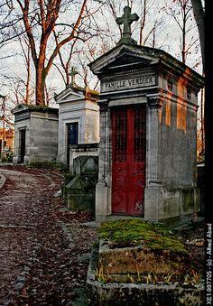 Mausoleum Row in Montmartre Cemetery, Paris, France