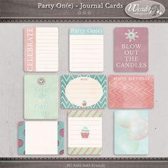 Party On(e) - Journaling Cards :: Journal Cards :: PROJECT 365 | LIFE :: Memory Scraps