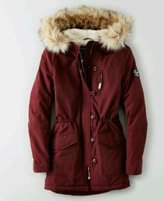 American Eagle Outfitters AEO Long Parka- warm and comfy Fall Winter Outfits, Autumn Winter Fashion, Mens Winter, Long Parka Coats, Hooded Coats, Hooded Parka, Red Parka, Down Parka, Look Fashion