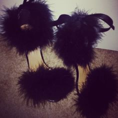 Faux Fur Heels Inspired by Brian Atwood Items needed: Single Sole Strap Heels… Fur Heels, Good Find, Brian Atwood, Fashion Heels, Strap Heels, Refashion, Me Too Shoes, Faux Fur, Feather