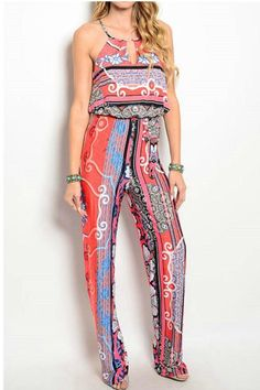 Great jumpsuit in a beautiful mixed print including stripes paisley and floral!. Front keyhole and racer back makes it subtly sexy. Great slinky fabric not only lays great on the body but is perfect for packing because it never wrinkles!   Print Jumpsuit by Towne. Clothing - Jumpsuits & Rompers - Jumpsuits Long Island