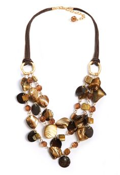 3 Row Brown Shell Necklace #Christopher&Bankslove