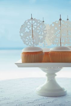 White Lace Cupcakes