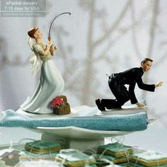 Wedding Cake Toppers - Fishing Bride and Groom Couple, Cake decoration