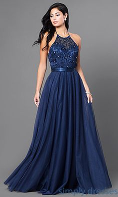 Shop long designer dresses and long halter gowns at Simply Dresses. Special-occasion tulle dresses for formal galas and long prom gowns.