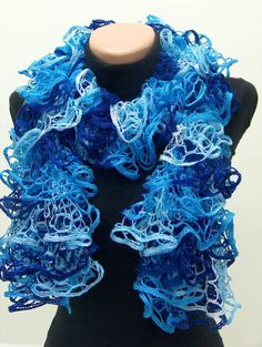 Lacy Ruffle Knit Scarf  i crocheted with same yarn
