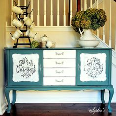 """Sophia's: Kitchen Scale Milk Paint SideboardI've been on a milk paint kick lately!  I just love trying out Miss Mustard Seed's colors in her new line of paint and """"Kitchen Scale"""" has been at the top of my list..."""