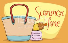 Beach Purse, Sunscreen Lotion and Towel in Summer Poster Summer Poster, Soft Towels, Free Vector Art, Image Now, Sunscreen, Lotion, Purses, Beach, Illustration