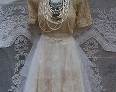 Cream wedding dress tiered lace tulle floral cupcake vintage tea bride outdoor  romantic small by vintage opulence on Etsy