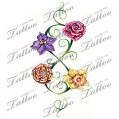 Infinity Vine Design with Birth Month Flowers tattoo   Infinity Fine and Flowers Color Newest #47752   CreateMyTattoo.com