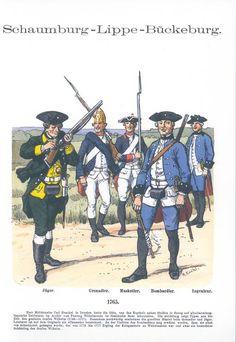 Band XV #36.- Schaumburg-Lippe-Bückeburg: Jäger, Grenadier, Musketier, Bombardier, Ingenieur. 1765.