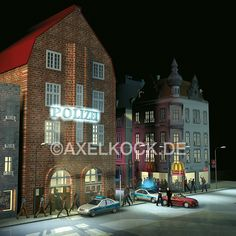 Davidswache, a famous police station in Hamburg, Germany. 3D illustration, made with Cinema 4D.