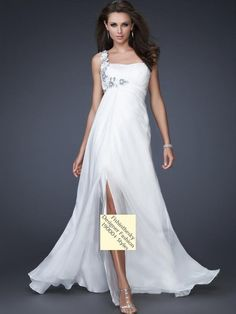 2012 Style A-line One Shoulder Hand-Made Flower Sleeveless Floor-length Chiffon White Prom Dress / Evening Dress