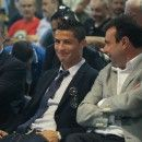 Cristiano Ronaldo smiling at the presentation for his contract renewal.