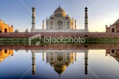 Taj Mahal and its reflection in Yamuna river, HDR Royalty Free Stock Photo